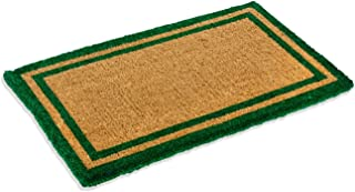 Natural Coco Coir Outdoor Doormats with Green Border Keep Your House/Office Clean - Welcome Guests with Outdoor Heavy Duty...