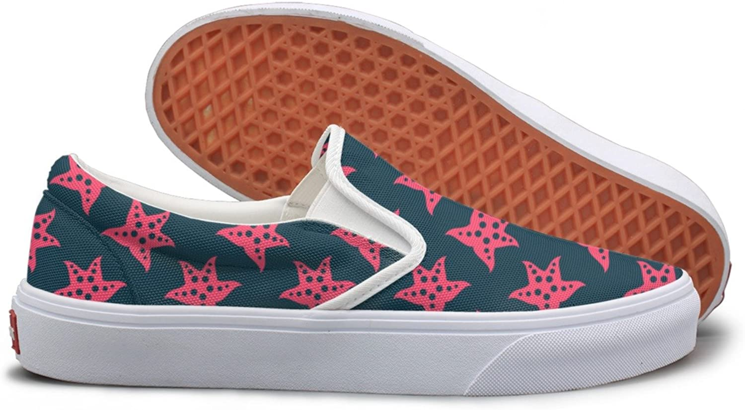 SEERTED Big Pink Coral Starfish Comfortable Sneakers for Standing All Day