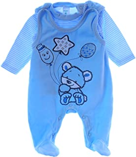 Malgosia - A&O Baby Strampler Set Nicki Stramplerhose & Shirt 50 56 62 68 74 Blau Velour