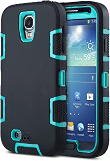 ULAK Galaxy S4 Case Hybrid Dual-Layer Shockproof Silicone Rubber Soft Skin PC Front Frame Hard Back Cover Heavy Duty Dustproof Combo Phone Case Cover for Samsung Galaxy S4 IV i9500 Aqua Blue Black