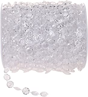 KUPOO 99FT Clear Crystal Like Beads String for Chandelier Curtains for Doorways Decoration 1 Roll (White)