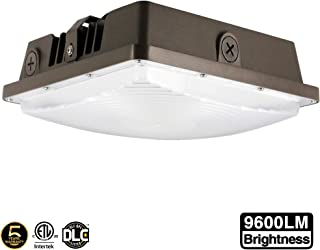 LED Canopy Light 80W,ETLus-Listed and DLC-Qualified,5000K Daylight White, 9600Lumen, 120-277VAC,175-450W MH/HPS/HID Replacement, IP65 Waterproof and Outdoor Rated, 5 Years Warranty,1Pack