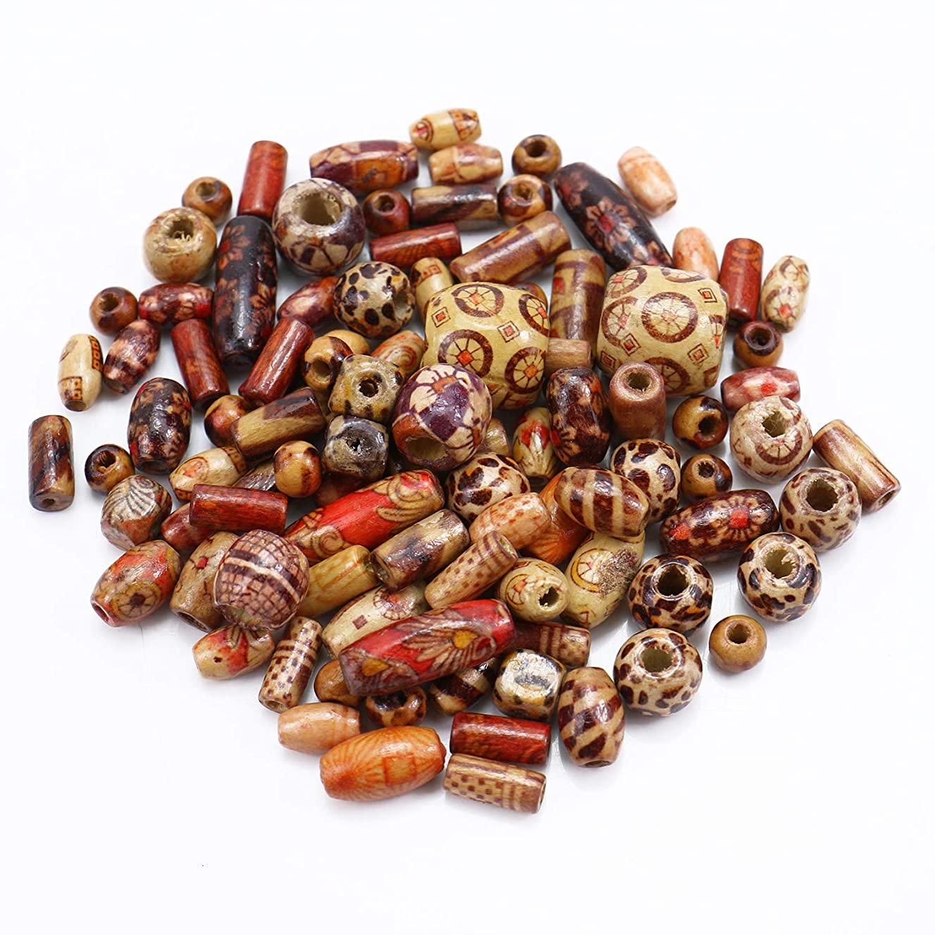 Monrocco 200 pcs Mixed Painted Wood Beads Large Hole Wood Spacer Beads for Jewelry Making DIY Bracelet Necklace