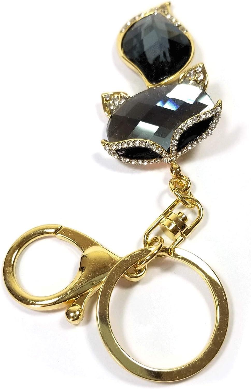 Teri's Boutique Wildlife Fox Animals Crystals Rhinestones Women Girls Fashion Jewelry Bag Purse Charm Pendants Keyring Keychains