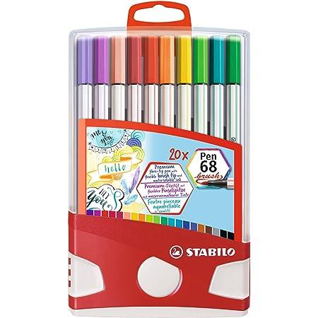 Pennarello Premium con punta a pennello per linee spesse e sottili - STABILO Pen 68 brush Colorparade - Astuccio da 20 - con 20 colori assortiti