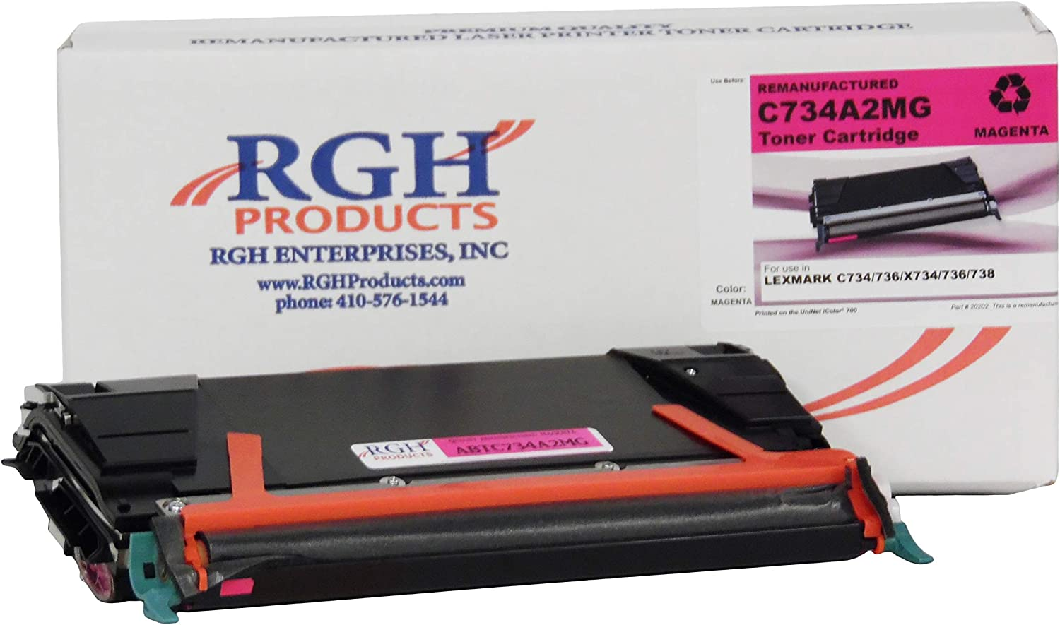 RGH Products Remanufactured ABTC734A2MG Toner Cartridge Tray Replacement for Lexmark C734/C736 Printer Magenta