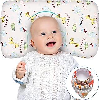 بالش کودک برای خواب حافظه فوم Unisex بالش شیرخوار کودک سر شکل دادن به جلوگیری از سندروم سر صاف قابل شستشو 100٪ قابل شستشوی پنبه ارگانیک پوشش هدیه تازه متولد شده برای دختران پسر بچه ها با کودک Bib