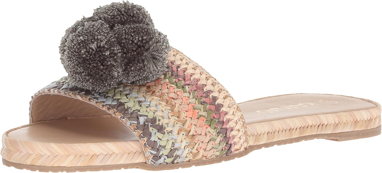 KAANAS Womens Santa Helena Slip on Pom Pom Flat Sandal Sandal
