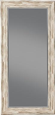 Sandberg Furniture Antique White Wash Farmhouse Full Length Leaner Mirror