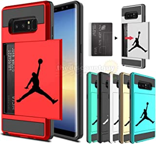 🔥 Samsung Galaxy S10e, S10 & S10+ Dual-Layered Credit Card ID Storage Basketball Case Michael Jordan Money Cash Slide Wallet Jumpman Air Lebron Gold Best 360 Protective Cover 🏀 (Red, S10e)