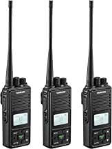 SAMCOM 20 Channel Walkie Talkie Wireless Intercom with Group Button, 2 Way Radio UHF 400-470MHz with 2.5 Miles Range, Earpiece & Belt Clip Included - Black
