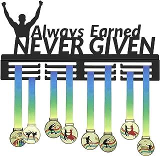 GENOVESE Medal Display Rack,Always Earned Never Given Medals Hanger,Trophies Hangers,Sport Awards Holder