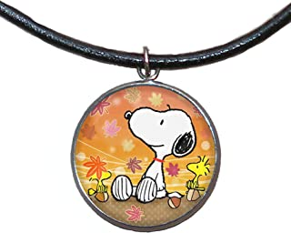 Edelstahl Anhänger, 30mm, Lederband, handgefertigt, Illustration Snoopy 3
