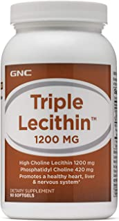 GNC Triple Lecithin 1200mg, 90 Softgels, Promotes a Healthy Heart, Liver and Nervous System