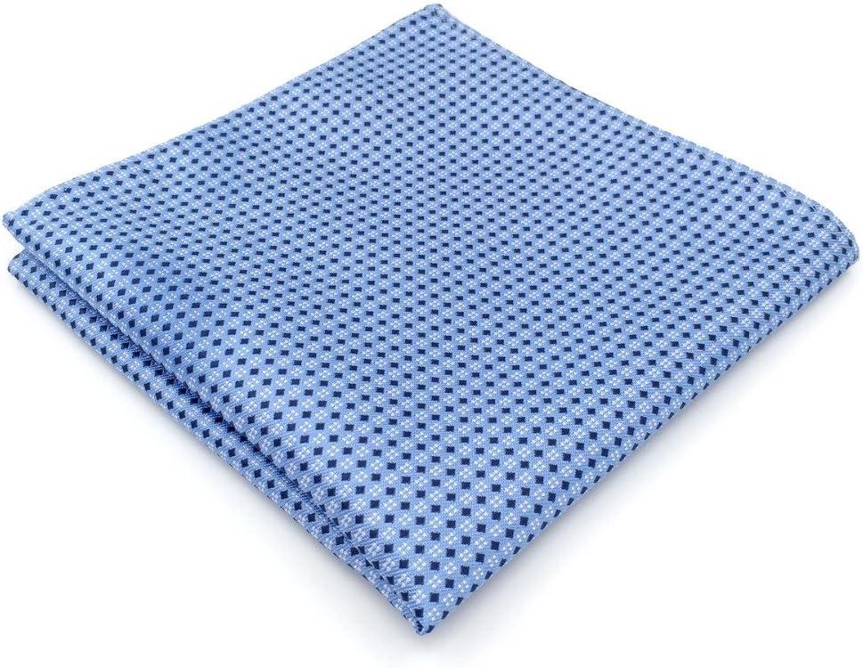 Tomeco BH6 Azure Polka Dots Silk Mens Pocket Square Wedding Classic Handkerchief Dress Hanky