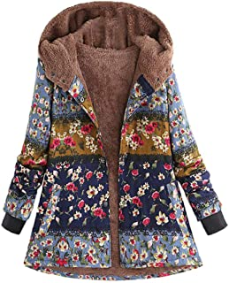 Womens Long Coats Jackets Hooded Floral Print Color Block Patchwork Fleece Lined Loose Warm Padded Parka Plus Size