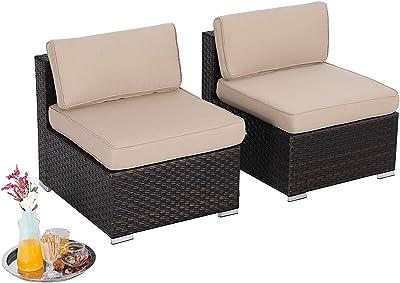 Amazon.com : PHI VILLA 3-Piece Patio Furniture Set Rattan ...