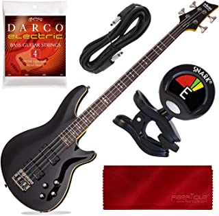 Schecter OMEN-4 4-String Bass Guitar, Gloss Black with Tuner and Accessory Bundle