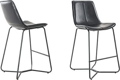"Plata Decor Import Sechrist Slope Upholstered 26"" Bar Stool (Set of 2) (Black)"