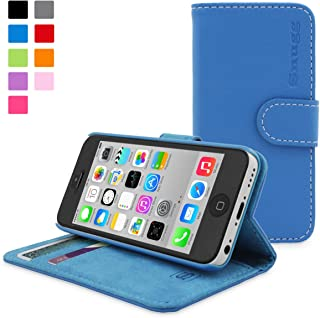 Snugg PU Leather Wallet Case for iPhone 5C - Electric Blue