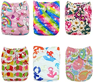 ALVABABY Baby Cloth Diapers One Size Adjustable Washable Reusable for Baby Girls and Boys 6 Pack with 12 Inserts 6DM18
