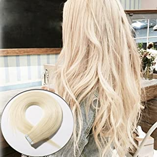 Benehair Rooted Tape in Hair Extensions Human Hair Platinum Blonde Skin Weft 20 inches Long Straight Remy Hair Double Sided Invisible Tape ins for Women 20pcs 50g (20