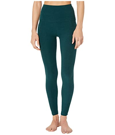 Beyond Yoga Spacedye High Waist Pocket Midi Legging (Hunter Green/Nocturnal Navy) Women