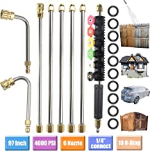 Upgraded Version Pressure Washer Extension Wand Set, Replacable Power Washer Lance with 6 Spray Nozzle Tips Design,90 Degrees +U Curved Rod, 1/4''Quick Connect, 10 Replacable Anti-Leaked Ring 4000 PSI