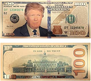 Authentic President Donald Trump Gold Plated Novelty Dollar Bill $100 Presidential Collectible Bank Note by Lane Co