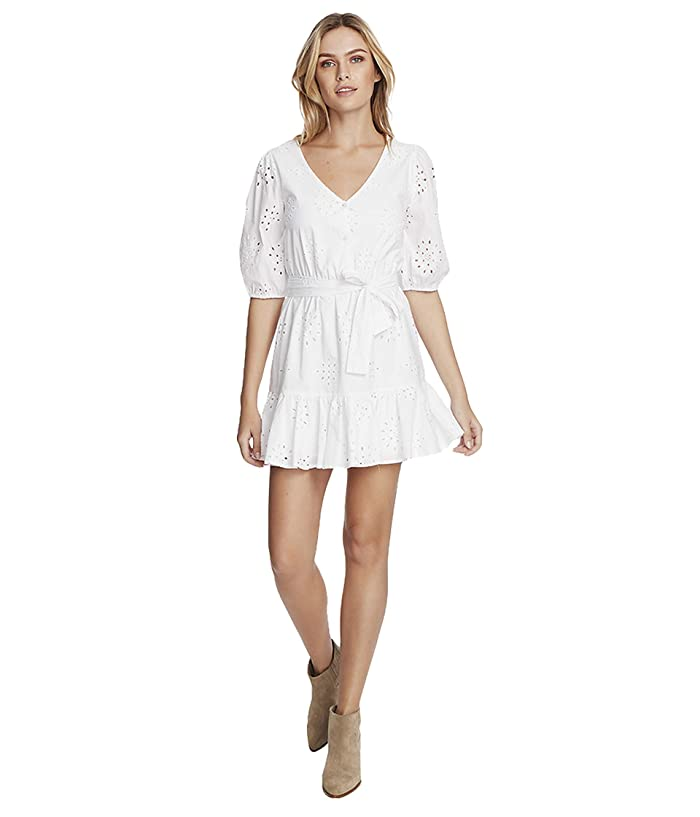 1.STATE  Cotton Eyelet Button Front Tie Waist Dress (Ultra White) Womens Clothing