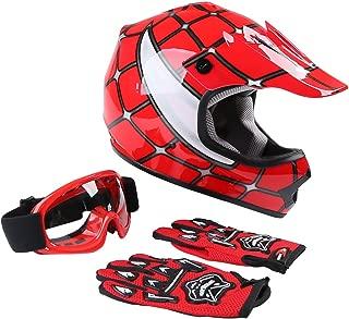TCT-MT Helmets+Goggles & Gloves DOT Youth Motocross Helmet Goggles & Gloves Red Spider Net Dirt Bike ATV Motocross Helmet X-Large