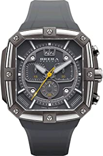 Brera Orologi Men's Supersportivo Square Stainless Steel Gray & Yellow BRSS2C4602