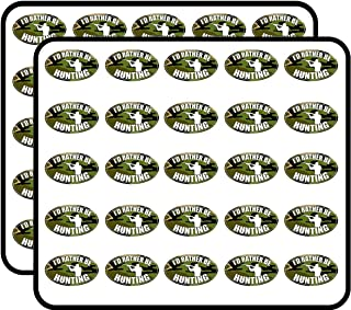 Camo Oval I'd Rather be Hunting (Hunt Hunter Deer Duck) Sticker for Scrapbooking, Calendars, Arts, Kids DIY Crafts, Album, Bullet Journals