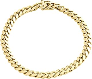"""The Diamond Deal Mens Solid 14K Yellow Gold Shiny Miami Cuban Link Chain Mens Bracelet with Secure Box-Lock Clasp (8.5"""", or 9 inch)"""