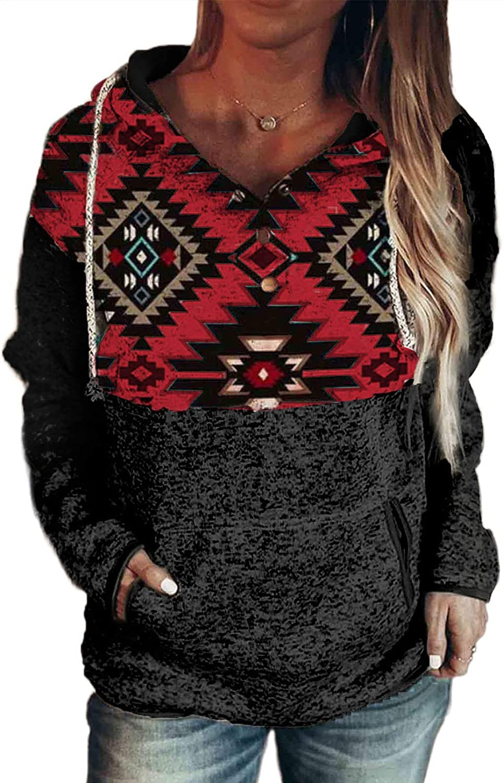 ROSKIKI Womens Long Sleeve Sweatshirts Casual Drawstring Pullover Loose Fitting Vintage Winter Hoodie with Kangaroo Pocket