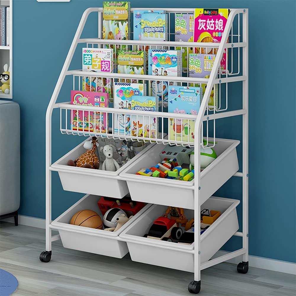 MOAMUN Children's Bookshelf, Kids Book Rack Organizer Iron Children's Toy Storage Rack with 4 Storage Box for Playroom Bedroom Living Room(Beige)