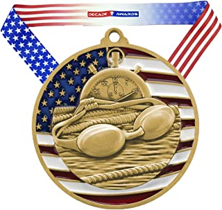 Decade Awards Swimming Patriotic Engraved Medal - 2.75 Inch Wide Swim Meet Medallion with Stars and Stripes American Flag V Neck Ribbon - Customize Now