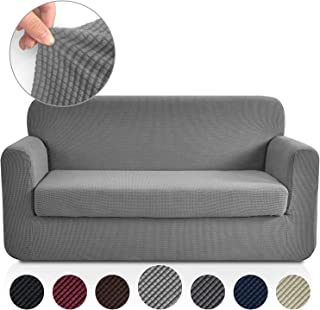 Rose Home Fashion Jacquard Stretch 2 Separate Pieces Sofa Cover, Sofa Slipcover with Separate Cushion Cover Couch-Polyester Spandex Sofa Slipcover&Couch Cover for Dogs(Sofa: Light Grey)