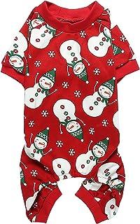 "Cute Snowman Reindeer Pet Clothes Christmas Dog Pajamas Shirts, Red Back Length 12"" Small"