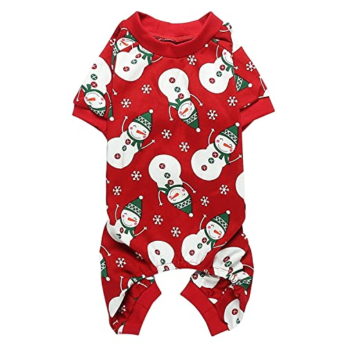 410671878661 Lanyarco Lovely Small Pet Dogs Pajamas Clothes 100% Cotton Snowman  Snowflake Red
