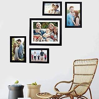 Art Street - Set of 5 Individual Black Wall Photo Frames Wall Hanging (Mix Size)(2 Units 5x7, 2 Units 6X10,1 Unit 10X12 inch)