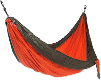 NOVICA Bright Red with Olive Green Trim Parachute Portable 1 Person Camping Hammock with Hanging Straps, Summer Dreams' (Single)