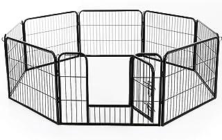 PawHut 8 Panel Pet Playpen Heavy-Duty Iron Indoor/Outdoor, 24-inch, Black