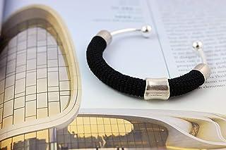 Bracciale rigido in cotone nero lavorato crochet - Matitie