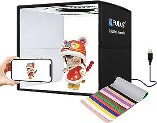 【2021最新版】PULUZ 撮影ボックス 25cm 折り畳み式 撮影キット 簡易スタジオ CRI95以上のLEDライト(96個の高演色性ビーズ) 白光5500K 光度10レベル調整可能 6枚背景シート(両面12色) 便利で持ち運び&収納&組立...