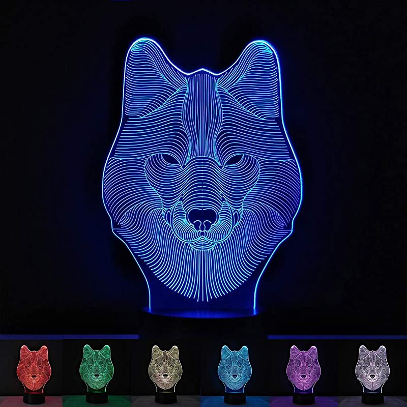 Wolf Night Light For Kids 3D Night Lamp Children Toys For Boys 7 LED Colors Changing Lighting Touch USB Charge Table Desk Bedroom Decoration Cool Gifts Ideas Birthday Xmas For Baby Girl Friends