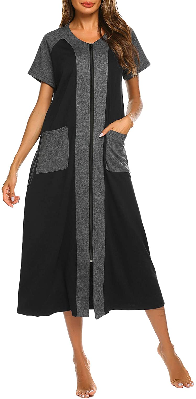 Ekouaer Women Zipper Robes Cotton Short outlet Sleeve Popular brand Bathrob Housecoat