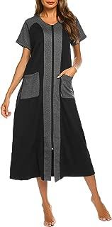 Ekouaer Women Zipper Robe Half Sleeve Loungewear Full Length Nightgown Duster Housecoat with Pockets S-XXL