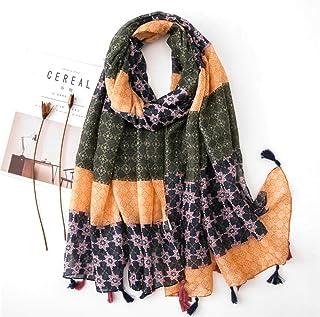 Schal Damen Kopftuch Baumwolle Leinen Winterschal Damen Vielseitige Seidenschals Modedruckte Schaldecke