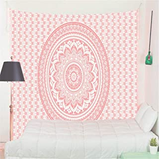 Eleroye Tapestry Wall Hanging Madala Pattern Bohemian Flowers Lotus Circles Indian Hippie Pink White Boho Wall Tapestry Spring Fall Home Decor for Bedroom Living RoomPremium Peached Material